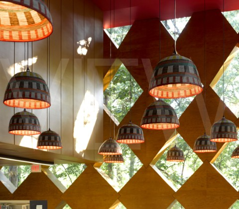 A new kind of sustainable lighting african basket lamp shades photo of interior of francis a gregory library in washington dc pendant lampshades designed using african baskets photo courtesy of edmund summer aloadofball Images