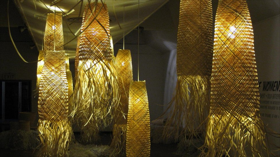 A new kind of sustainable lighting african basket lamp shades these lampshades aloadofball Choice Image